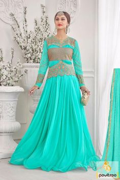 TV serial actress chiffon turquoise gown online comes in free shipping and cash on delivery service in India. Buy this online low price evening prom dress. #gown, #tvserialactressgown, #jeevikawear, #weddingown, #partywear, #floorlengthanarkali,  #eveninggown,  #weddingbridalgown, #gowndress, #promdresses,  #bridalwear, #receptiongown,   #partyoutfits More: http://www.pavitraa.in/catalogs/star-plus-serial-actress-jeevika-gowns-dresses-for-wedding-wear/ Any Query: Call Us: +91-76982-34040