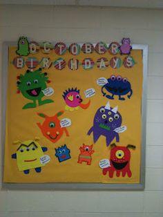 monster school birthday bulletin board