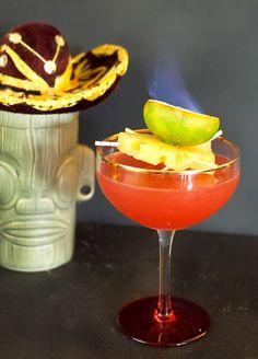 The Little Pink Sombrero 1-1/2 oz. Del Maguey Vida Mezcal 3/4 oz. Campari 1 oz. pineapple juice 1/2 oz. freshly squeezed lime juice 1/4 oz. Cruzan Black Strap Rum