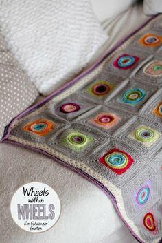 "Ein Schweizer Garten: Crochet-Love Pattern ""wheels within wheels""  Crochet blanket in grey"