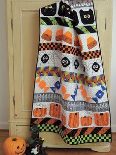 Spooktacular Row quilt with All Hallows Bash fabrics.