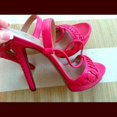 Versace Shoes - Versace pink strappy heels with platform