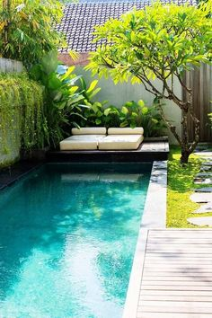 Technically it would most likely be simpler to create the pool into the floor or maybe to level it to the ground floor deck. A huge swimming pool sits at the conclusion of the backyard garden. The long, narrow swimming pools are ideal for smaller gardens. Small Swimming Pools, Small Pools, Swimming Pools Backyard, Swimming Pool Designs, Small Backyards, Indoor Swimming, Small Backyard Design, Small Backyard Landscaping, Garden Design