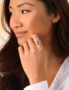 """Available in on-trend rose gold, sleek silver, or classic gold, our cubic zirconia Circle of Hearts Ring is a modern way to say, """"I love you."""""""