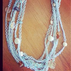 Russian Beaded Necklace, Genuine Pearls, Stones, Crystals. www.natasharussia.com