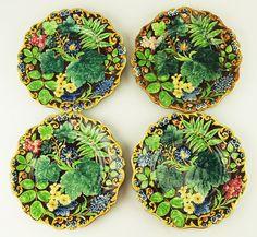 Samual Alcock 'Palissy' pattern majolica plates