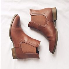 Chestnut Brown Chelsea Ankle Boots These boots are perfect for completing a Pinterest worthy outfit! Made of faux leather with elastic side panels. Lightly worn, so still in great condition! Old Navy Shoes Ankle Boots & Booties                                                                                                                                                                                 More