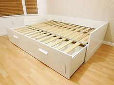 BRIMNES Day-bed frame with 2 drawers, white - zoomly
