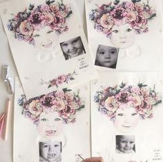 Fine art print One Sonny Day. Australian kids and children's art. Soft pink flower crown, lilac floral headdress, delicate antique lace embossing, custom portrait, custom design. Perfect for wall art, little girls bedroom deco, children kids gifts, christening, baby shower, christmas present. Watercolour, painting, quote