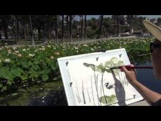 A Plein Air Paining of Lotus Flowers with a Duck at Echo Park Lake, LA b...