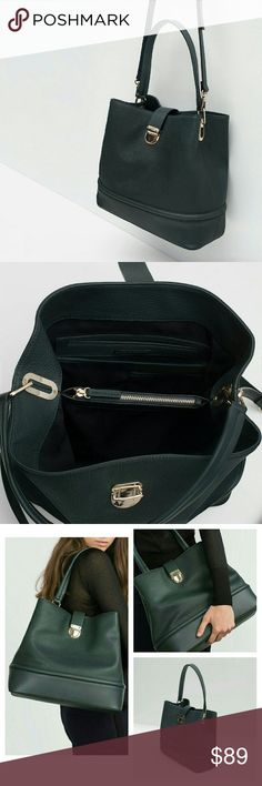 Zara bag (8455) New with tag. OUTER SHELL 100% polyurethane. LINING 100% polyester. Filling 100% ethylene vinyl acetate. Color Bottle Green Bottle green bag. Gold-toned hardware. Handle and adjustable and removeable shoulder strap. Lining with various compartments and zipped pocket. Metallic closure. Measurement 31 x 35 x 14 cm Zara Bags Shoulder Bags