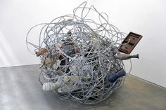 XU ZHEN Things I see every morning when I wake up and think of every night before I sleep, 2009   Mixed media, razor wire Approximately 84 X 84 X 84 inches