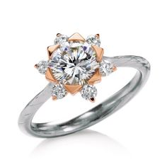 18K White and Rose Gold 'Mallow' Engagement Ring from @maevonabridal at Wedding Day Diamonds #floral #rosegold #flower