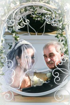 Portrait in our Cinderella Carriage bride and father Clark's Landing by Darci Doran