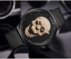 Vintage Men Quartz Wristwatch Skull Design Watches Black Stainless Steel Strap #GIMTO #VintageMenQuartzWristwatch