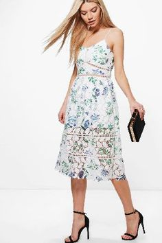 #boohoo Jia Floral Lace Midi Skater Dress - ivory DZZ64492 #Boutique Jia Floral Lace Midi Skater Dress - ivory