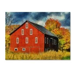 Lois Bryan 'Red Barn In Autumn' Canvas Art | Overstock.com Shopping - Top Rated Trademark Fine Art Canvas
