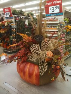 Big pumpkins for fall love them! Pumpkin Arrangements, Fall Floral Arrangements, Outdoor Christmas Decorations, Thanksgiving Decorations, Fall Decorations, Fall Table Centerpieces, Fall Projects, Pumpkin Decorating, Fall Flowers