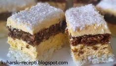 Kokos kocke  Potrebni sastojci za Kokos kocke  Crno tijesto:  5 bjelanjaka-snijeg  150g mljevenih oraha  150g šećera  3 rebra čokolade  3 ...