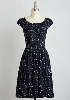 Day After Day Dress in Shooting Stars. This pocketed dress by hard-to-find British brand Emily and Fin will lift your spirits when you need it! #blue #modcloth