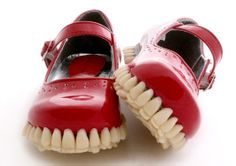Fantich & Young implant teeth into the soles of mary janes Mary Janes, Little Girl Shoes, Girls Shoes, Stiletto Shoes, High Heels Stilettos, Funny Shoes, Human Teeth, Teeth Implants, Mode Shoes