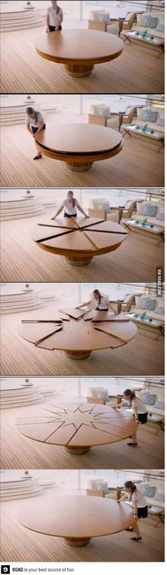 cool round expandable table that could replace the need for any formal dinning room. Smart Furniture, Unique Furniture, Furniture Design, Flexible Furniture, Modular Furniture, Design Tisch, Design Table, Cool Designs, Woodworking