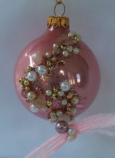 Pink beaded ornament, Glass Ball Christmas Decoration with crystals n feathers, OOAK, La Marelle Couture.
