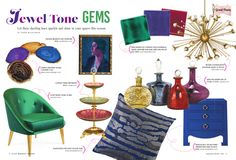 Flea Market Decor (USA) - July 2015. This vibrant feature on jewel tones features tiles from our hand glazed Classic collection in Emerald Green, Sapphire blue and Ruby red.