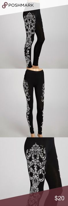 """Black & White Arabesque Leggings NWOT! Jazz up any ensemble with these glamorous leggings. Featuring an arabesque embellishment and hint of stretch, they're sure to be a showstopping favorite. NEVER BEEN WORN! No missing beads. 📦Same/Next Day Shipping. *Size: M  *Inseam: 31""""  *95% polyester / 5% spandex Pants Leggings"""