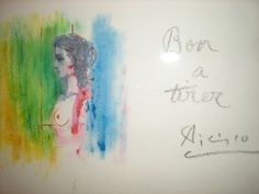 """Original color colotype, crayon and lithograph by Pablo Picasso (Spanish 1881-1973)  """"Profile of a Lady"""",  Signed and inscribed """"Bon a Tierre"""". A unique experimental trial proof illustration for a gallery catalog of the artist's works.  The text would have been printed on the blank space to the right.  Picasso has experimented with additional yellow, green, and red lithographic ink.   No edition seems to have been published making this a unique working proof."""