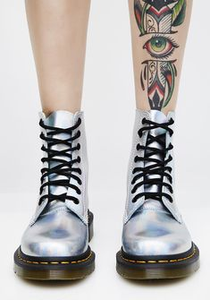 33ef5ea5535e Dr. Martens Silver Iced Metallic Pascal Boots Swimming Outfit