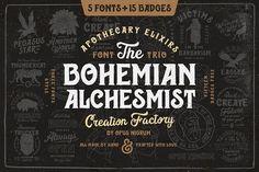 Bohemian Alchemist 5 Font + 15 Badge by OpusNigrum on @creativemarket