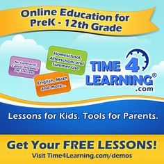 Online education program for homeschool, afterschool, remediation and summer use. It teaches prek-12th graders math, language arts and more using animated lessons, printable worksheets and interactive activities.