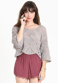 Taupe cropped sweater, would love that in an Aqua or purple colour!