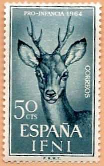Sello Ifni de 50 céntimos, Pro Infancia, 1964 - Portal Fuenterrebollo