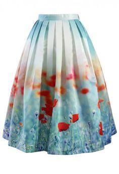 Poppy Flower Print Midi Skirt