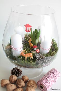 Terrarium Advent wreath... I wouldn't add the forest critters, but I like the general idea