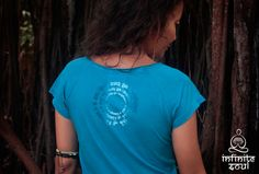 Mantra Dress (dark blue turquoise) - yoga top for inspiration, sport activities, yoga clothing, round mantra by InfiniteSoulWear on Etsy