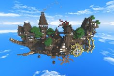 So, I watched a lot of Studio Ghibli films and decided to make something Ghibli inspired in minecraft. Amazing Minecraft, Cool Minecraft, Minecraft Skins, Minecraft Ideas, Ville Steampunk, Steampunk City, Architecture Minecraft, Minecraft Buildings, Minecraft Creations