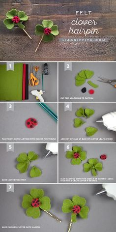 DIY Clover Hair Clip Tutorial for St Patrick's Day is part of Kids Crafts Flowers Hair Clips - Craft up this simple clover hair clip to get you ready for St Patrick's Day This easy project is a great kid's craft as well! Felt Crafts Diy, St Patrick's Day Crafts, Felt Diy, Fabric Crafts, Kids Crafts, Felt Flowers, Diy Flowers, Fabric Flowers, Paper Flowers