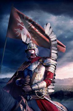 Husar, the famous Polish cavalry. Military Art, Military History, Polish Tattoos, Patriotic Posters, Poland History, Knight Art, Tattoo Project, Knights Templar, Modern Warfare