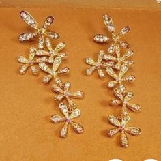 Gold Plated Evening Earrings