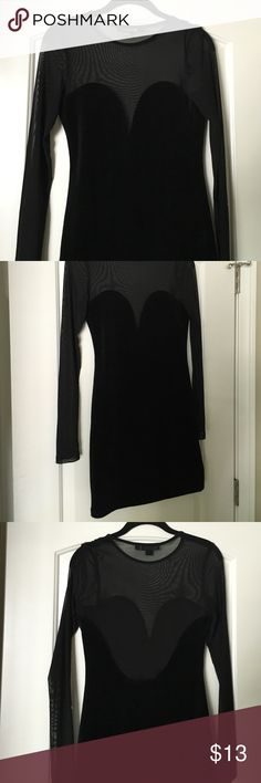 HP Black mesh & velvet dress Black mesh and velvet- like dress. (Not real velvet). Has a body cut out in front and dips down in the back. Super cute & comfortable. It has mesh sleeves as well. Worn once- no flaws Dresses