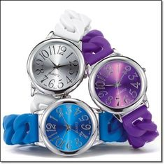 Bold Color Link Watch* Silvertone case with a metallic-color dial and oversized numbers. Silicone band. http://jgoertzen.avonrepresentative.com/
