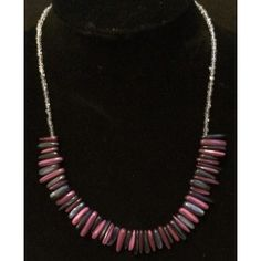 Purple and Blue Shell Tooth Fringe Collar Necklace