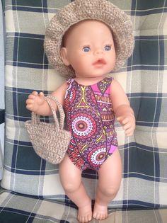Puppenkleidung - Puppenbadeanzug, Hut und Tasche - ein Designerstück von Marie-und-Mariechen bei DaWanda