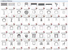 Blocos autocad para cadeiras, bancos, poltronas, escritório, puff, banquetas, cadeira de plástico, espreguiçadeira, etc.  Blocos DWG. http://www.arteblocos.com/