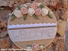 Welcome! Embroidery Hoop Crafts, Embroidery Hearts, Hand Embroidery Art, Ribbon Embroidery, Jute Crafts, Craft Stick Crafts, Felt Crafts, Diy And Crafts, Crafts For Kids