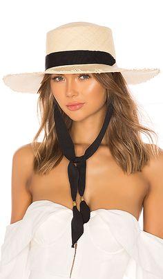 da91835bdcf49 SENSI STUDIO Frayed Long Brim Boater Hat in Natural   Black