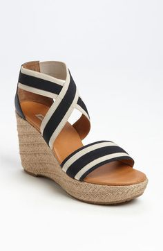 Paul Green 'Monique' Sandal available at Nautical Stripes, Big Watches, Wedge Sandals, Espadrille Wedge, Paul Green, New Shoes, Navy And White, Me Too Shoes